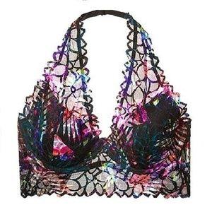 *A721    Victoria's Secret Pink Floral Lace Halter